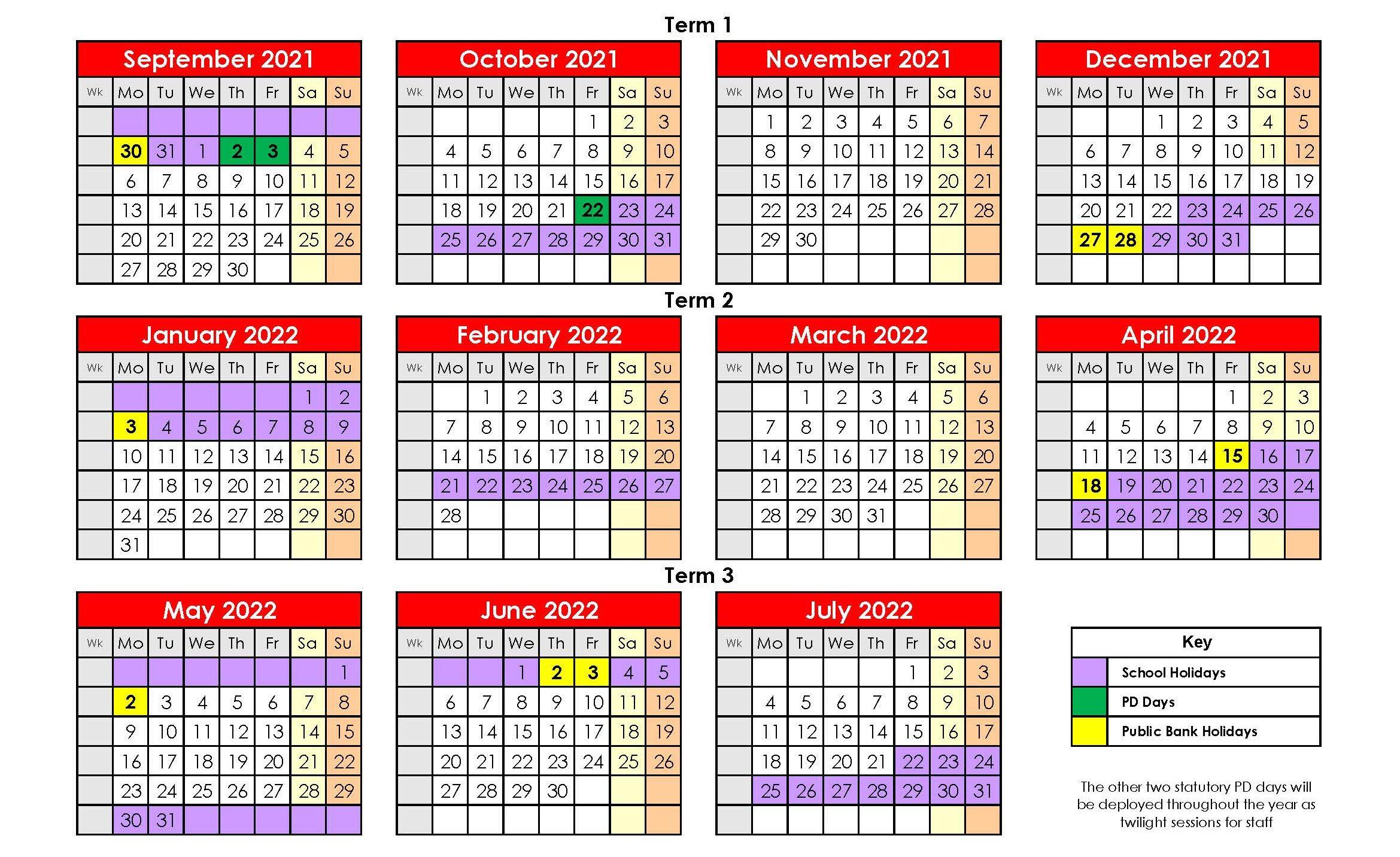 2021-2022 Holidays