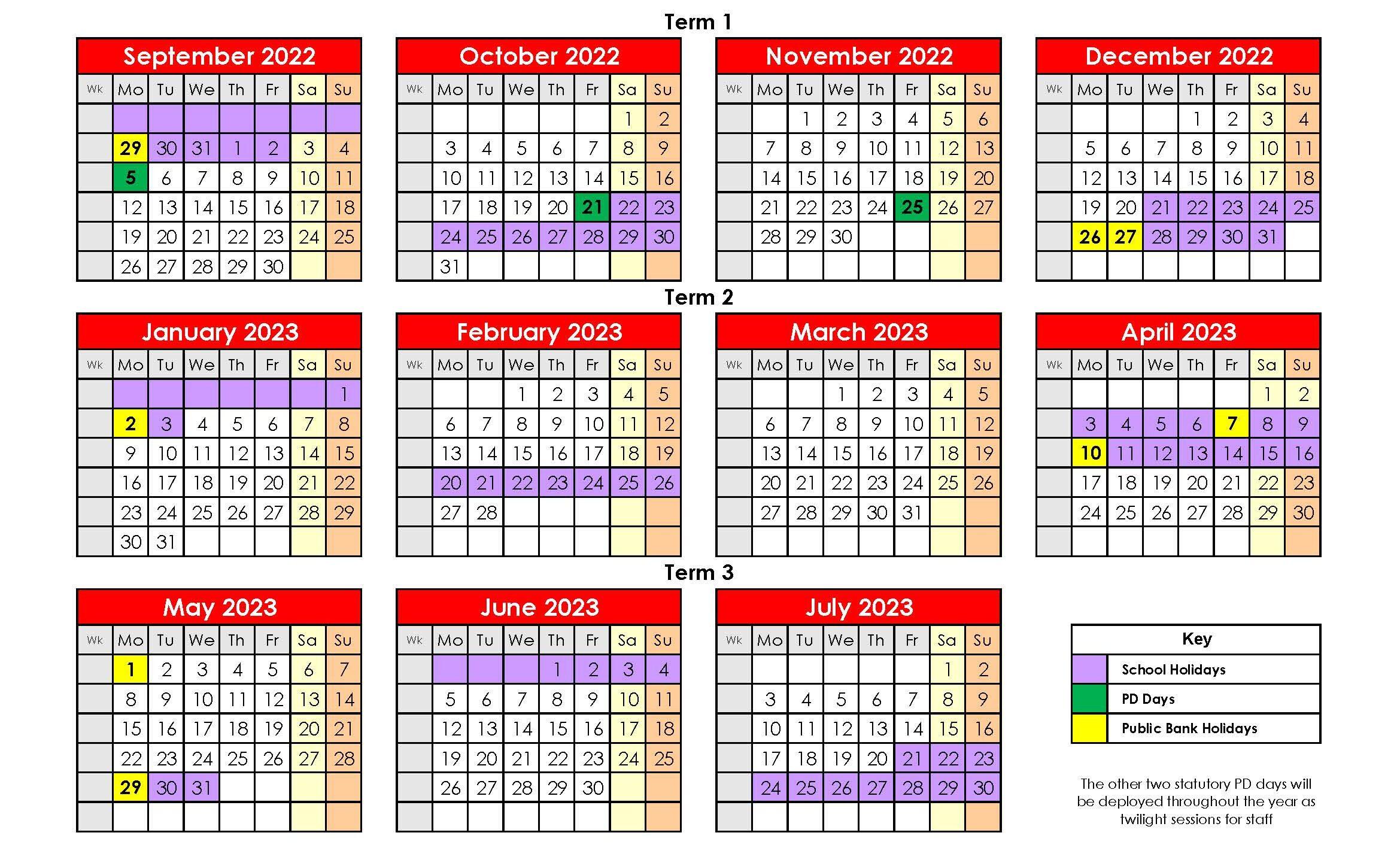 2022-2023 Holidays
